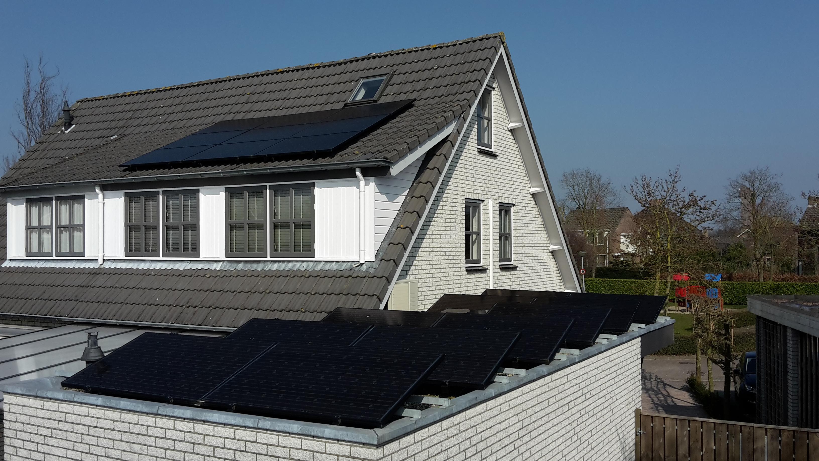 12 panelen plat dak - 9 panelen dakkapel